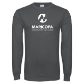 Maricopa Comm Charcoal Long Sleeve T Shirt-Primary Mark Stacked