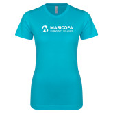 Maricopa Comm Next Level Ladies SoftStyle Junior Fitted Ice Blue Tee-Primary Mark