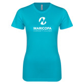 Maricopa Comm Next Level Ladies SoftStyle Junior Fitted Ice Blue Tee-Primary Mark Stacked