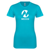Maricopa Comm Next Level Ladies SoftStyle Junior Fitted Ice Blue Tee-Acronym