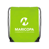 Maricopa Comm Lime Green Drawstring Backpack-Primary Mark Stacked