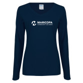 Maricopa Comm Ladies Navy Long Sleeve V Neck T Shirt-Primary Mark