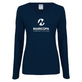 Maricopa Comm Ladies Navy Long Sleeve V Neck T Shirt-Primary Mark Stacked