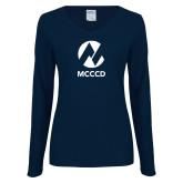Maricopa Comm Ladies Navy Long Sleeve V Neck T Shirt-Acronym