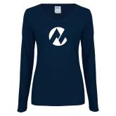 Maricopa Comm Ladies Navy Long Sleeve V Neck T Shirt-Icon