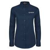 Maricopa Comm Ladies Navy Twill Button Down Long Sleeve-Primary Mark