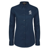 Maricopa Comm Ladies Navy Twill Button Down Long Sleeve-Acronym
