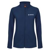 Maricopa Comm Ladies Fleece Full Zip Navy Jacket-Primary Mark