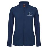 Maricopa Comm Ladies Fleece Full Zip Navy Jacket-Primary Mark Stacked