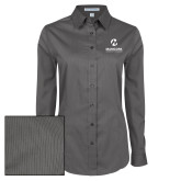 Maricopa Comm Ladies Grey Tonal Pattern Long Sleeve Shirt-Primary Mark Stacked