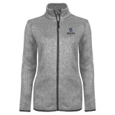Maricopa Comm Grey Heather Ladies Fleece Jacket-Primary Mark Stacked