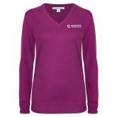 Maricopa Comm Ladies Deep Berry V Neck Sweater-Primary Mark