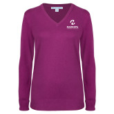 Maricopa Comm Ladies Deep Berry V Neck Sweater-Primary Mark Stacked