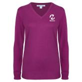 Maricopa Comm Ladies Deep Berry V Neck Sweater-Acronym