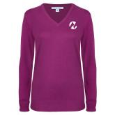 Maricopa Comm Ladies Deep Berry V Neck Sweater-Icon