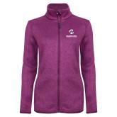Maricopa Comm Dark Pink Heather Ladies Fleece Jacket-Primary Mark Stacked
