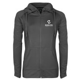 Maricopa Comm Ladies Sport Wick Stretch Full Zip Charcoal Jacket-Primary Mark Stacked