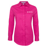 Maricopa Comm Ladies Tropical Pink Long Sleeve Twill Shirt-Primary Mark