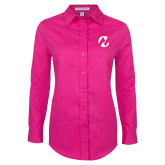 Maricopa Comm Ladies Tropical Pink Long Sleeve Twill Shirt-Icon