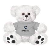 Maricopa Comm Plush Big Paw 8 1/2 inch White Bear w/Grey Shirt-Primary Mark Stacked