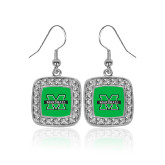 Crystal Studded Square Pendant Silver Dangle Earrings-M Marshall