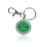 Crystal Studded Round Key Chain-M Marshall
