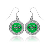 Crystal Studded Round Pendant Silver Dangle Earrings-M Marshall
