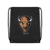 Black Drawstring Backpack-Mascot Head