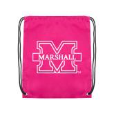 Nylon Pink Drawstring Backpack-M Marshall