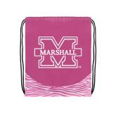 Nylon Zebra Pink/White Patterned Drawstring Backpack-M Marshall