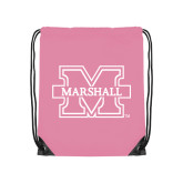 Nylon Light Pink Drawstring Backpack-M Marshall