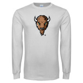 White Long Sleeve T Shirt-Mascot Head