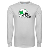 White Long Sleeve T Shirt-Marshall Football Helmet