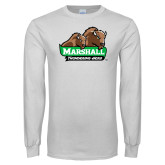 White Long Sleeve T Shirt-Thundering Herd in Front of Herd