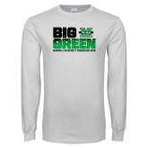 White Long Sleeve T Shirt-Big Green