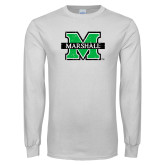 White Long Sleeve T Shirt-M Marshall Distressed