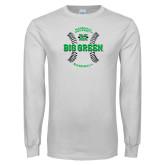 White Long Sleeve T Shirt-Baseball Ball Design