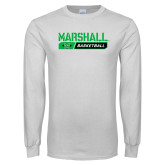 White Long Sleeve T Shirt-Basketball Bar Design
