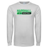White Long Sleeve T Shirt-Basketball Bar Design