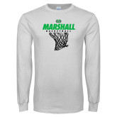 White Long Sleeve T Shirt-Basketball Net Design