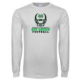 White Long Sleeve T Shirt-Football Helmet Design