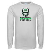 White Long Sleeve T Shirt-Football Helmet Design