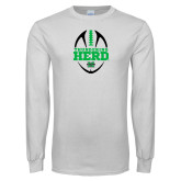 White Long Sleeve T Shirt-Football Vertical Design
