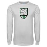 White Long Sleeve T Shirt-Soccer Shield Design