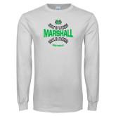 White Long Sleeve T Shirt-Softball Ball Design
