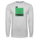 White Long Sleeve T Shirt-Tennis Stacked Design