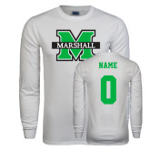 White Long Sleeve T Shirt-M Marshall, Custom Tee w/ Name and #