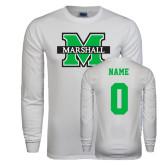 White Long Sleeve T Shirt-M Marshall, Custom Tee w/ Name and #