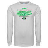 White Long Sleeve T Shirt-2018 Mens Basketball Champions - Brush