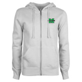 ENZA Ladies White Fleece Full Zip Hoodie-M Marshall